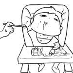 離乳食を食べる息子のふてぶてしさたるや。